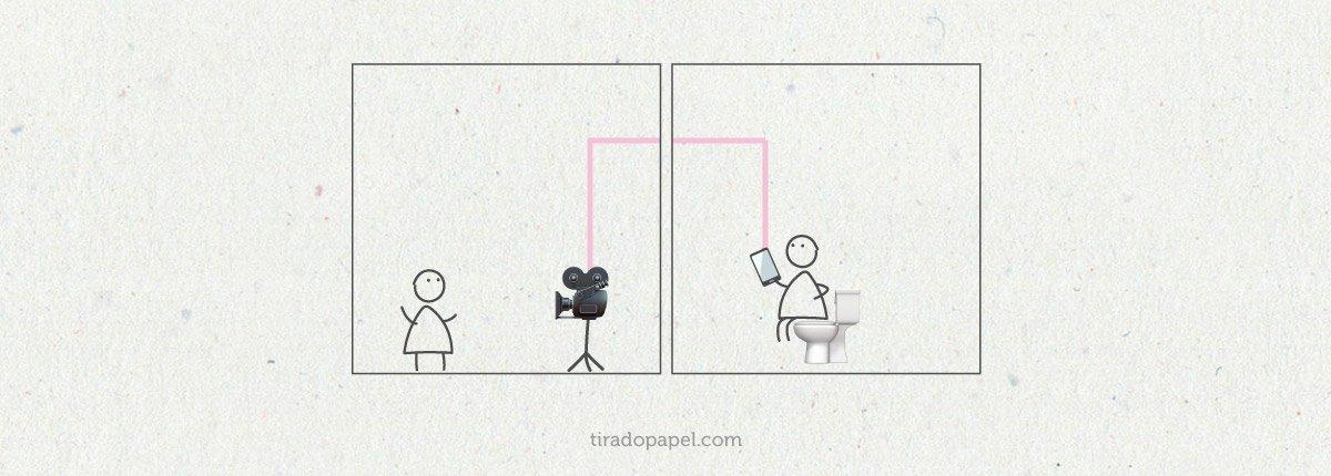 Bonequinho de paleito criando conteúdo em um quadro. Outro bonequinho consumindo conteúdo no banheiro consumindo conteúdo.
