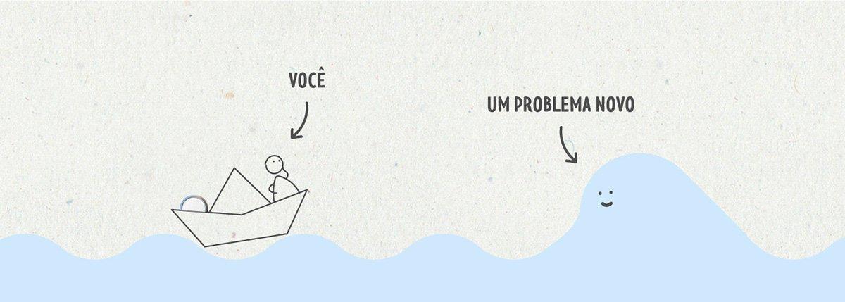 Boneco de palito navegando com um barco de papel. Uma seta aponta para uma onda que diz 'um problema novo'.